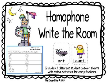 Homophone Write the Room- Includes 3 levels of answer sheets