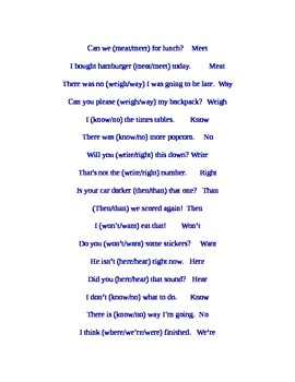 Homophone and Commonly Confused Words Flash Cards