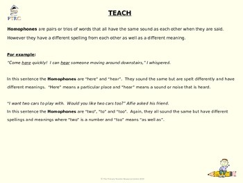 Homophone and Homonym Teaching PowerPoint