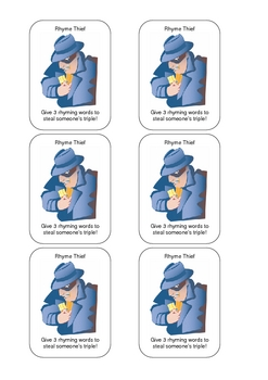 Homophone and Rhyming Word Card Game