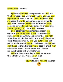 Homophone and Tricky Word Letter to Students