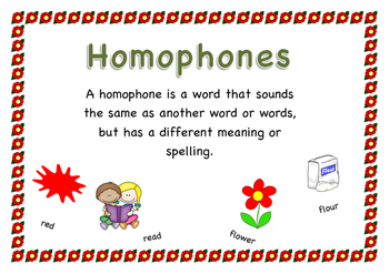 Homophone definition poster