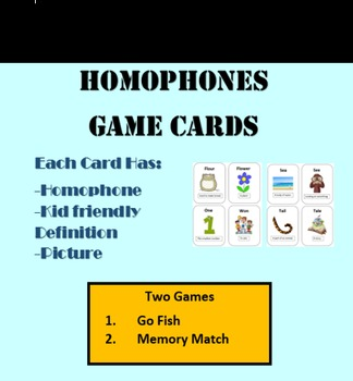Homophone game cards