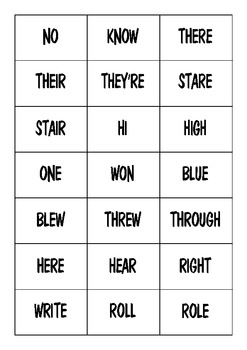 Homophone match ups and lots more activities