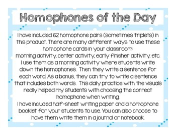 Homophones of the Day Posters, Journal, and Activity Sheet