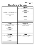Homophone of the Week Recording Sheet