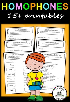 Homophone Pack - Literacy - 15+ printable worksheets