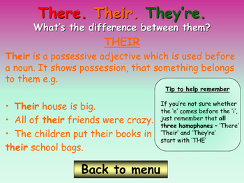 Homophone Game - Their, There, They're