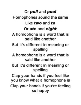 "Homophone song to the karaoke version of ""Happy"" by Pharrell Williams"