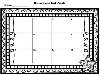 Homophones-12 Task Cards-Set One