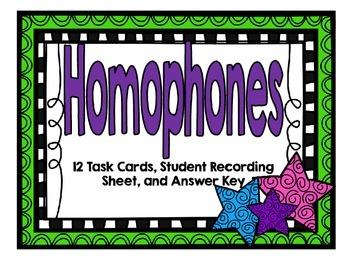 Homophones-12 Task Cards-Set One