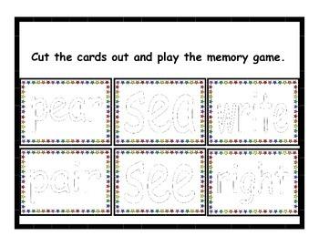 Homophones Memory Game