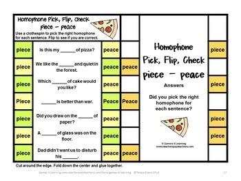 Homophones Activity: Pick, Flip Check Cards Set 1