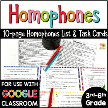 Homophones List and Task Cards for Upper Grades