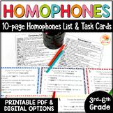 Homophones List and Task Cards for Upper Grades