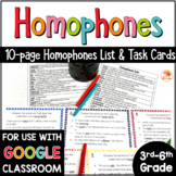 Homophones Activities: List and Task Cards for Upper Grades