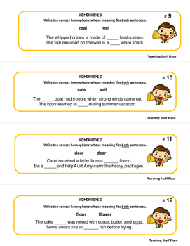 Homophones | PRACTICE and REVIEW |TASK CARDS | Early Finishers |Gr 3-4-5