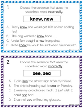 Homophones Activities: List and Task Cards for Lower Grades