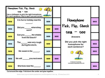 Homophones Free Clip Cards