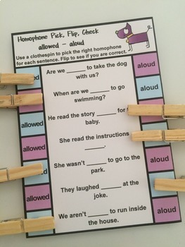 Homophones Activity: Homophones Clip Cards Bundle
