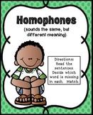 Homophones Activities   Homophones Center