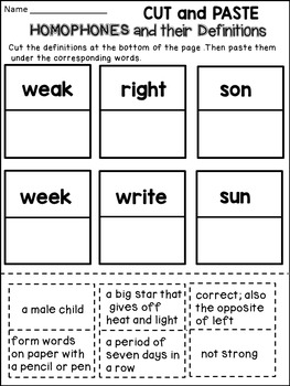 Homophones Worksheets