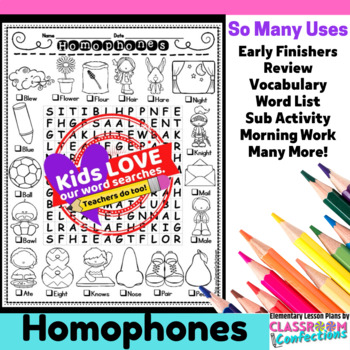 Homophones Activity: Homophones Word Search