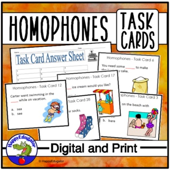 Homophones Task Cards - 32 cards with answer sheet