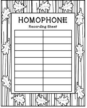 Homophones Activities