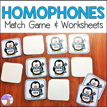 Homophones Match Game & Worksheets