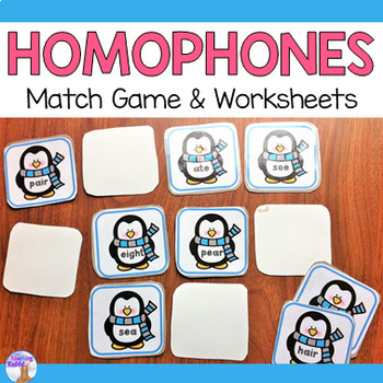 Homophones Match Game & Worksheets