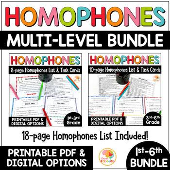 Homophones List and Task Cards BUNDLE