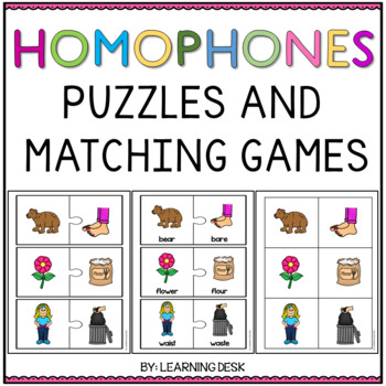 Homophone Activities (Puzzles and Match Game)