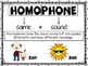 Homophones Poster and Task Cards