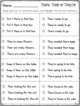 There, Their, and They're Homophones Worksheets