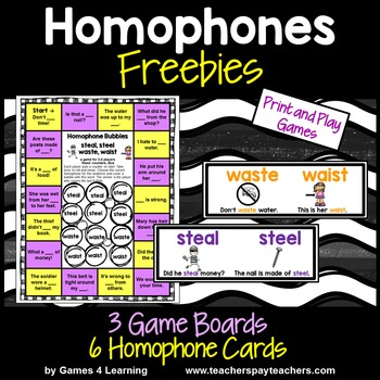 Homophones Games Board and Cards Freebie