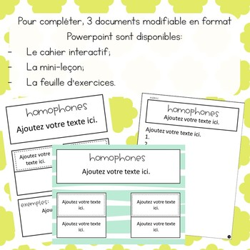 Homophones - 2e cycle -  Ensemble grandissant avec documents modifiables