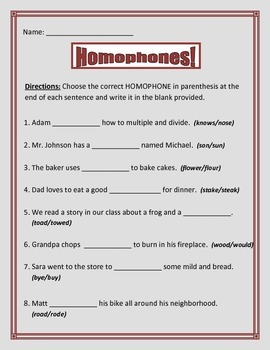 Homophones / Homonyms- 3 pages 8 questions each page.  Common Core.