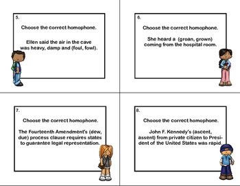 Homophones-32 Task Cards- Grades 3-5