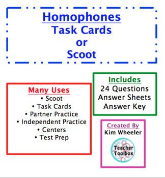 Homophones 3rd Grade Scoot or Task Cards