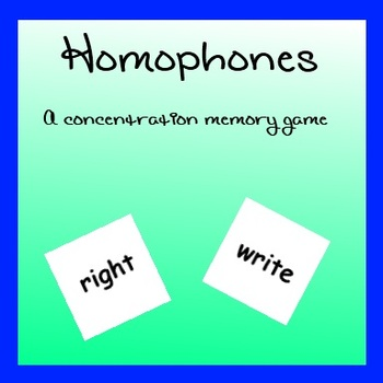 Homophones - A Concentration Memory Game