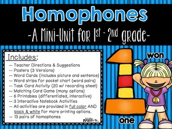 Homophones: A Mini-Unit for 1st - 2nd grade