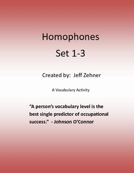 Homophones -- A Vocabulary Activity