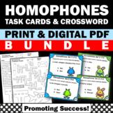 Homophones Activities BUNDLE Vocabulary Task Cards and Crossword