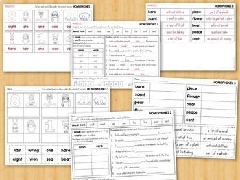 Homophones Activities, Centers, Worksheets Grade 2-3
