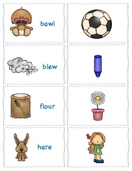 Homophones Activities-Matching Activity, Task Cards, and Assessment