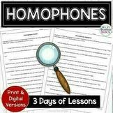 Homophones Activities | Print and Digital