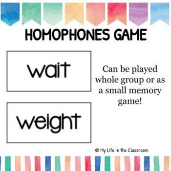 Homophones Activity/Game
