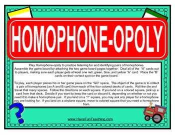 Homophones Activity (MONOPOLY)