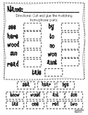 Homophones Activity Recording Sheet Freebie